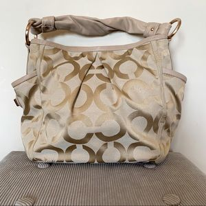 Coach gold monogram signature hobo